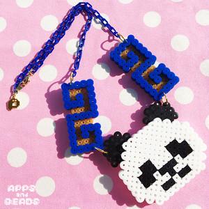 【Apps and Beads】ちゃいなぱんだネックレス(あお×ゴールド)