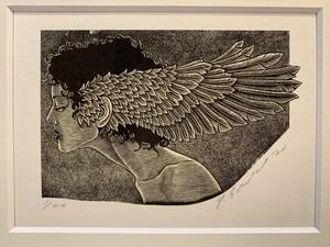 鈴木康生 「翼」100×150mm 木口木版画、雁皮紙 1/20ed. 2020年制作
