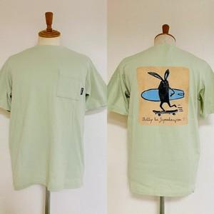 Shabby Skater Back Print T-shirts Light Green