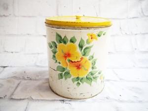 品番1223 イエロー缶 花柄 黄色 スチール製 ディスプレー インテリア雑貨 ヴィンテージ