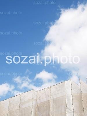 【D-parts_08】写真素材(建築現場の防護ネットと空 アングル違い4点セット)