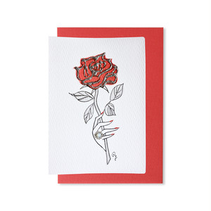 """""""RED ROSE with White Opal ring"""" GREETING CARD[S]"""