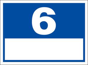 シンプル看板「番号票6(白窓付)」屋外可・送料無料