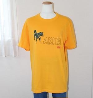 秋田犬Tシャツ半袖Lサイズ(虎秋田・ライトオレンジ )