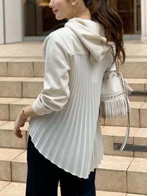 back pleats hoodie / white (即納)