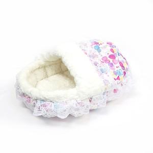 ふーじこちゃんママ手作り ドーム型ベッド フリル付き(コットンリボン柄・ボアホワイト)Mサイズ