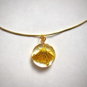 和風ゴールドネックレス 金のミニチュア扇子 Japanese style gold plated necklace Gold miniature Sensu folding fan