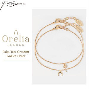 【Orelia】Palm Tree Crescent Anklet 2 Pack