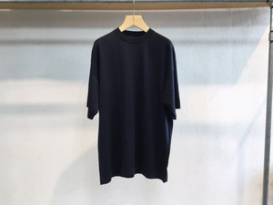 "crepuscule""Silk×Cotton Knit Tee Navy"""
