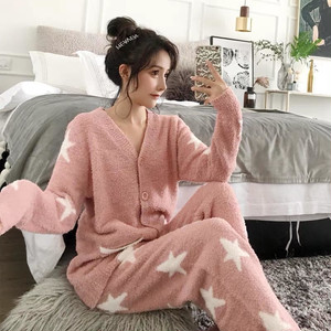 星もこもこルームウェア カーディガン&パンツ パジャマ 全2色
