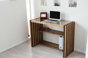 Villa Glass Desk WB / 西海岸リゾートスタイル ヴィラ ガラスデスク / ウォールナットブラウン