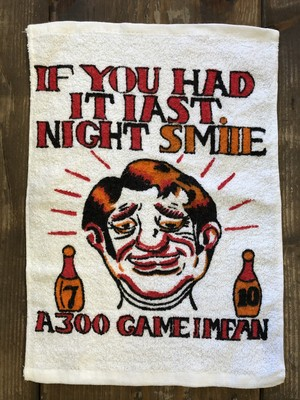 "BOWLING TOWEL""IF YOU HAD IT LAST NIGHT SMILE!""(White) /ボーリングタオル USA 70's 80's ビンテージ"