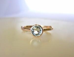 天然アクアマリンのK10の指輪(ラウンドカット)