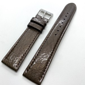BAMBI GREACIOUS 手もみエナメルレザーストラップ チョコ 18mm 腕時計ベルト
