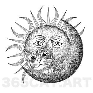 """タトゥーシール/猫の絵、イラスト猫雑貨・""""月と太陽と猫"""" Cat Tattoo"""