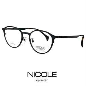 ニコル メガネ NICOLE β チタン ns13270-3 黒縁 nicole ベータチタン 軽量 ボストン ラウンド 丸眼鏡