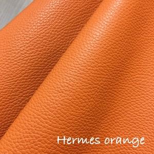 【レザー】カルトナージュ用 イタリア製レザー 36cm×36cm (エルメス オレンジ)