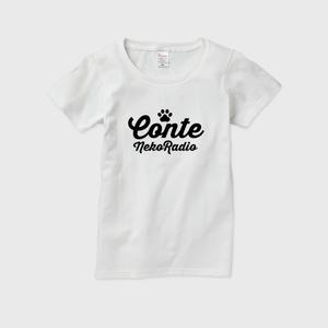 コントネコラジオTシャツ002-レディース ホワイト