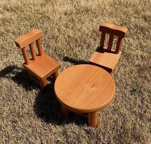 イスと丸テーブル 国産カツラ材 未使用保存品