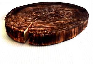 デルフリキャンプ 切り株 ボード 焼桧 丸太 直径25cm・高さ3cm ウッドディッシュ ポットベッド パンホルダー ナイフワークボード