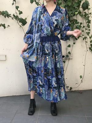 Diane freis blue × black jewelry print cache-coeur dress ( ダイアン フレイス ブルー × ブラック ジュエリー柄 カシュクール ワンピース )