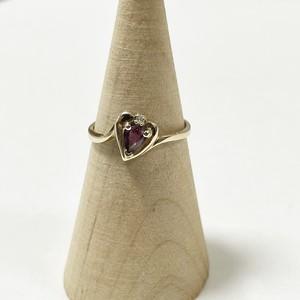 Vintage 10K Gold Diamond & Ruby Heart Ring