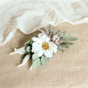 "Hair ornament for ""White zinnia Bouquet"""