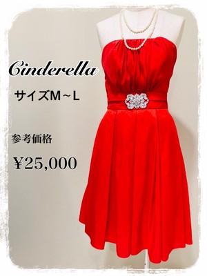 Cinderella ベアトップ ウエストビジュー プリーツ パニエ入り M~L