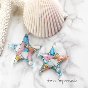 夏におすすめ♡珊瑚がたくさんヒトデピアス☺︎+100円イヤリング変更可能♡