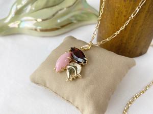 Muguet pendant <antique pink x coffee brown>