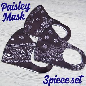 ④The Delight shop SELECT paisley samless MASK 3pieceSET(ペイズリー シームレス マスク 3色セット)ブラック