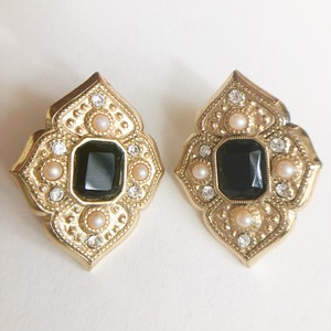 """Whiting & Davis"" gold & black pierce[p-680] ヴィンテージピアス"