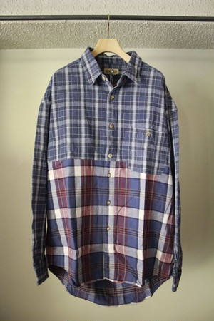 MALION VINTAGE マリオンビンテージ back open check shirts A type
