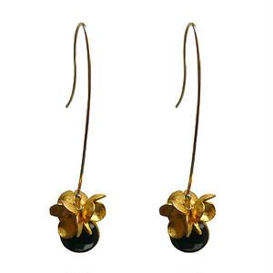 Black Spinel & Flower Long Hook Pierce ブラックスピネル & フラワーロングフックピアス