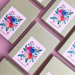 アルファベット フラッシュカード ー花ブーケシールー