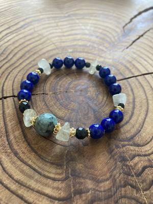 bracelet 【 王の花  】  エメラルド×ラピスラズリ×リビアングラス×オブシディアン