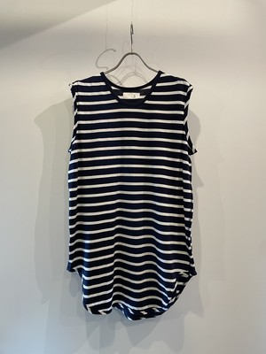 T/f Lv2 cotton jersey striped sleeveless top - combined navy