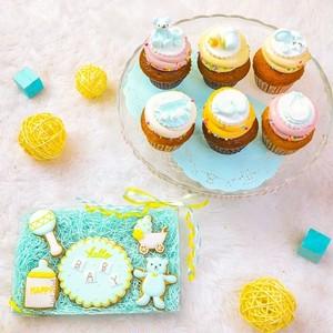 ウェルカムベビー(ブルー)カップケーキ&アイシングクッキースペシャルセット
