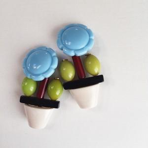 Flower pot vintage earrings1054