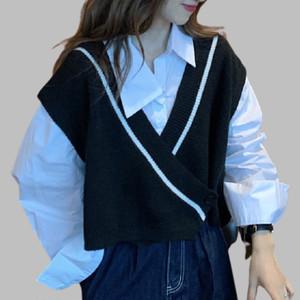 【セット】「単品注文」学園風長袖シングルブレストPOLOネックシャツ+ベスト42247128