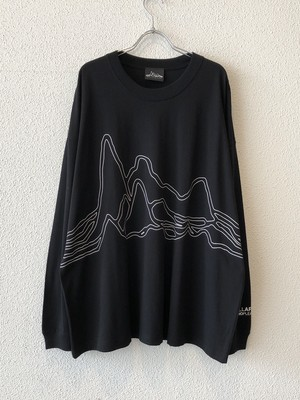 "【19042】WIDE SILHOUETTE L/S Tee ""OUT LINE"" (BLACK)"