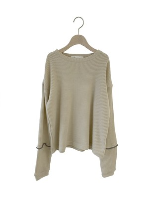 UNIONINI long sleeved rib knit pullover (beige) S/M