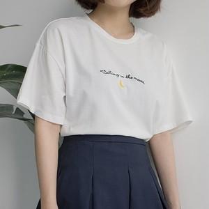 【トップス】アルファベットカジュアルラウンドネック刺繍プルオーバーTシャツ20283551