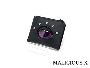 cat eye folding wallet / magenta × violet