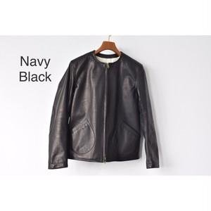 Simva118-0040NV 'Lucie' Leather Blouson Crew Neck NavyBlack