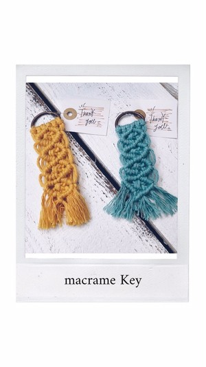 T-0509-05 マクラメ キー タグ AKARI hand made macrame key tag