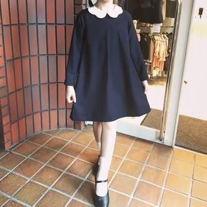 【送料無料】入学式 子供服 お花えりワンピース ネイビー