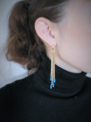 vintage pierced earrings fringe <PE-Fgl/sv>