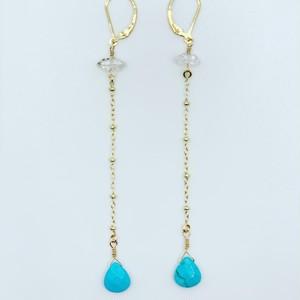 Herkimer Diamond Turquoise Earrings