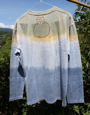 草木染、ベンガラ染め、ベンガラ藍染め、綿100 カエルとオレンジ 長袖Tシャツ 男性用Lサイズ(セール価格)